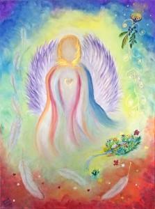 Regenbogenengel gemalt von Jadranka Keilwerth