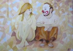 Clown und das Mädchen